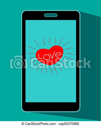 Mobile Phones With Hearts Symbols On The Screen Icon Mobile Phone