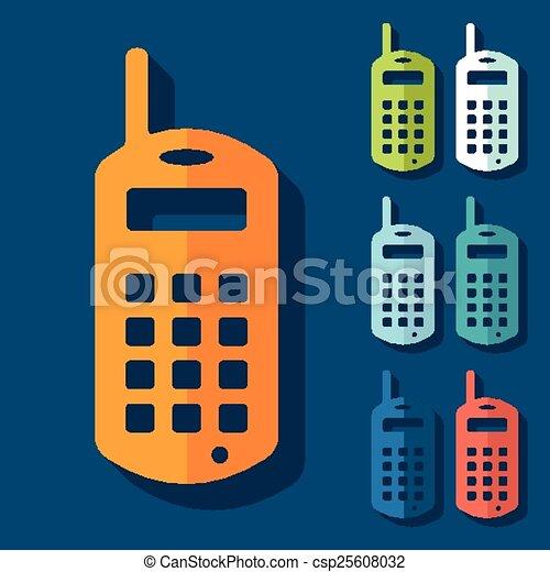mobile, plat, design:, vieux, téléphone - csp25608032
