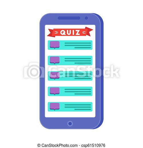 Mobile quiz application on the smartphone screen
