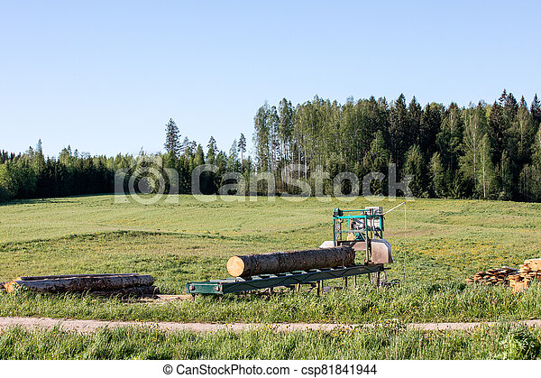 Mobile sawing equipment for logs in the open air. Rural landscape on a sunny day - csp81841944