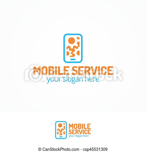 Mobile service logo set with silhouette phone and gears