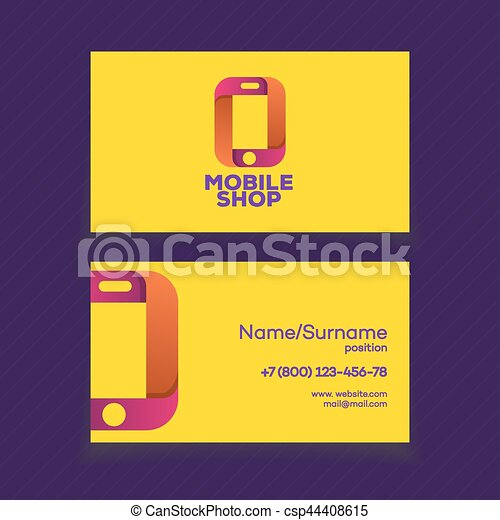 Mobile shop business card design template with phone logo on yellow mobile shop business card design template csp44408615 colourmoves