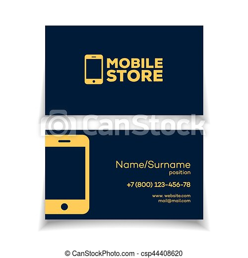 Mobile store business card design template with smartphone logo mobile store business card design template csp44408620 reheart Image collections