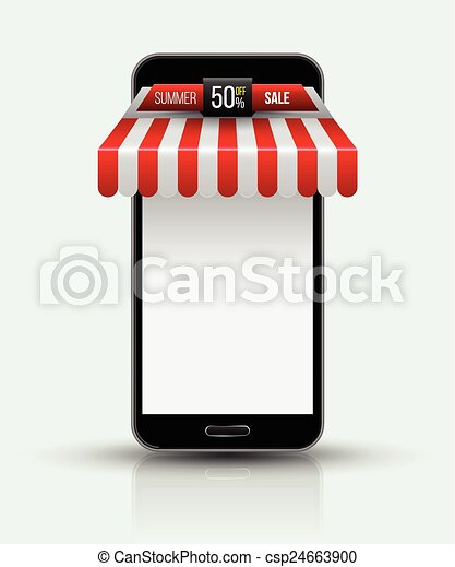 Mobile store concept with awning. - csp24663900