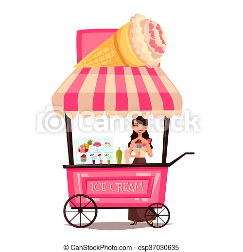 Mobile street seller with ice cream - csp37030635