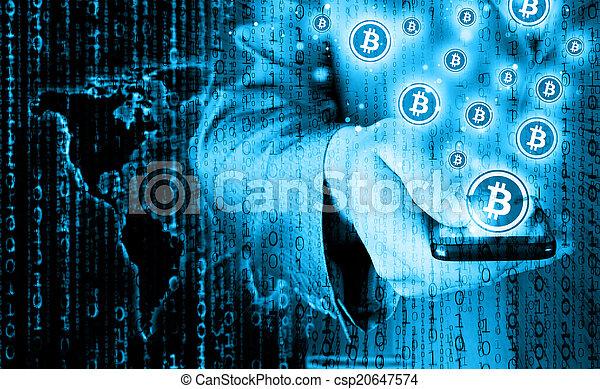 mobile, symbole, bitcoin, main, téléphone, intelligent - csp20647574