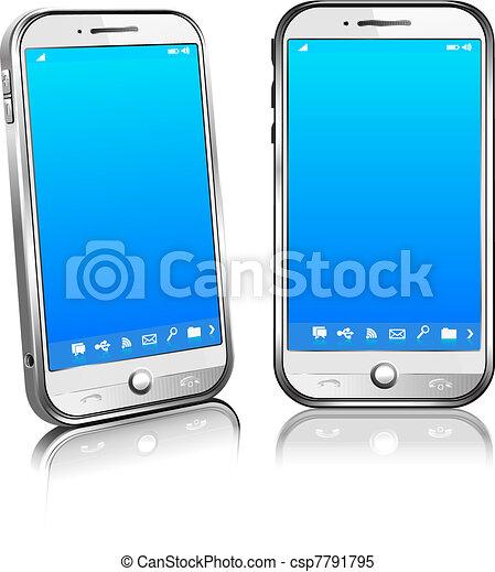 Mobile Téléphone Portable Blanc Intelligent 3d