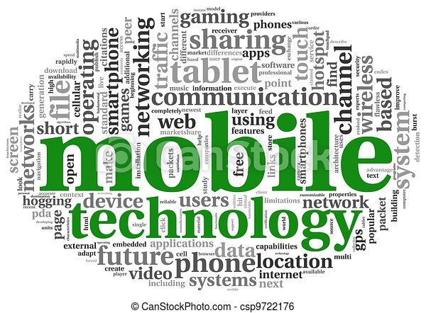 mobile, technologie, concept, étiquette, nuage - csp9722176