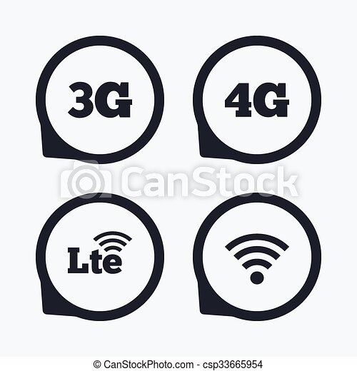 Mobile Telecommunications Icons 3g 4g And Lte Mobile Payments