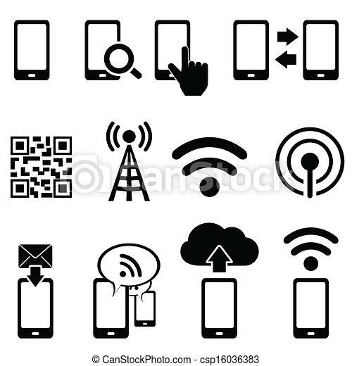 mobile, wifi, ensemble, icône - csp16036383