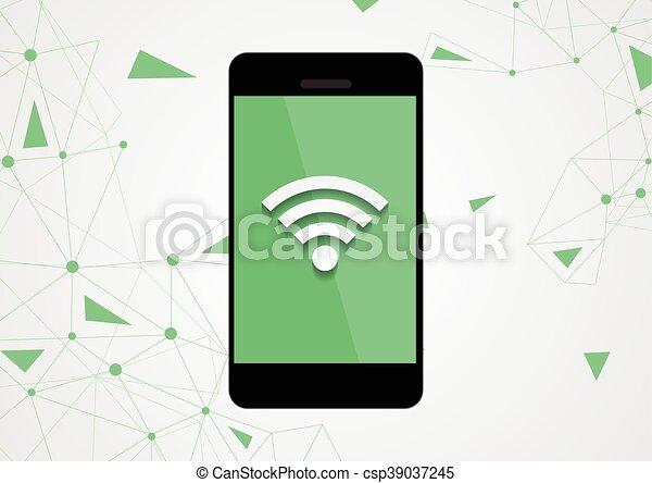 mobile, wifi, téléphone, connexion, technologie, fond - csp39037245