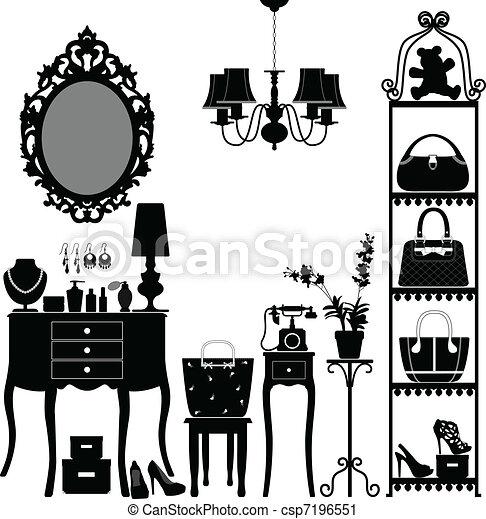 mobilia, donna, stanza, cosmetico - csp7196551