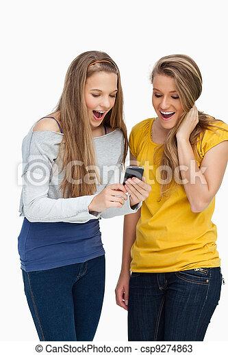 mobiltelefon, deltagare, avskärma, snopen, se, två - csp9274863
