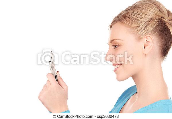 mobiltelefon, kvinna, lycklig - csp3630473