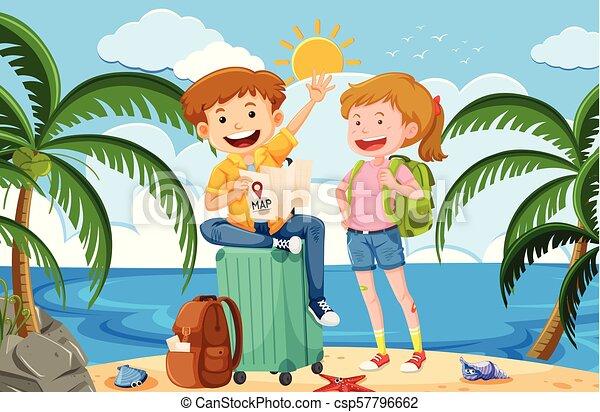 Un mochilero en vacaciones de verano - csp57796662