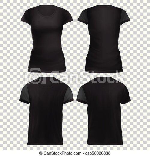 cb676a57 Mock-up black women's t-shirt front+back. Vector mock-up black set ...
