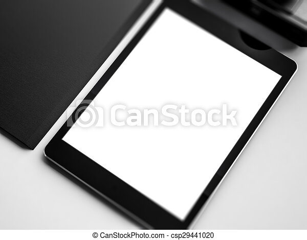 Mock up of tablet on the workspace. 3D rendering - csp29441020