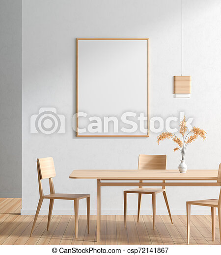 Mock Up Poster Frame In Scandinavian Style Dining Room With Wooden Chairs And Table Minimalist Dining Room Design 3d Canstock