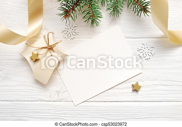 Christmas Top View.Mockup Christmas Decor Top View And Gold Ribbon Flatlay On A White Wooden Background With Place For Your Text