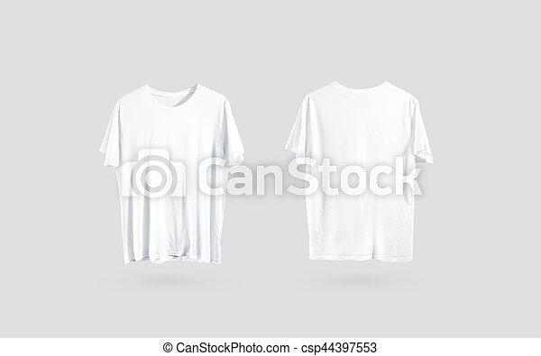 5e820bd3960f1 Mockup, dos, t-shirt, devant, conception, vide, vue, blanc, côté ...