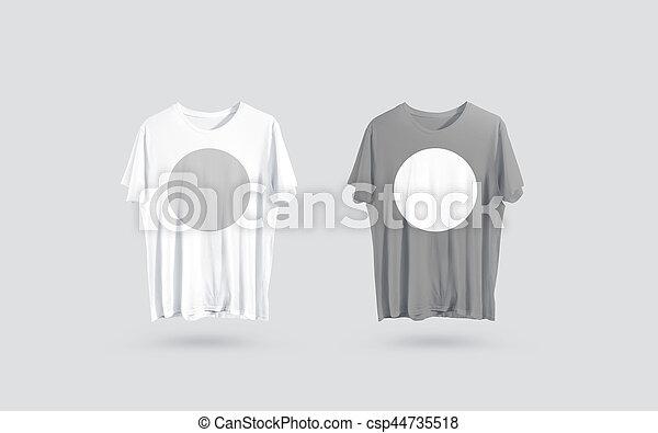 e60e2ff4330e6 Mockup, gris, t-shirt, devant, conception, vide, vue, blanc, côté ...