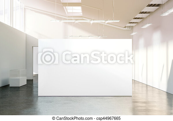 mockup, mur, musée, moderne, ensoleillé, vide, blanc, vide