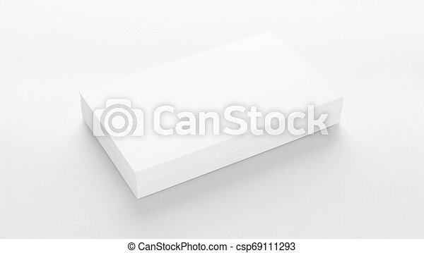Mockup of business cards on white textured paper background - csp69111293