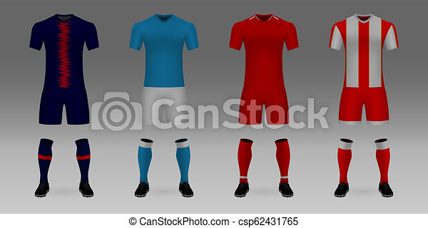 16d187cef Set of 3d realistic template soccer jersey psg