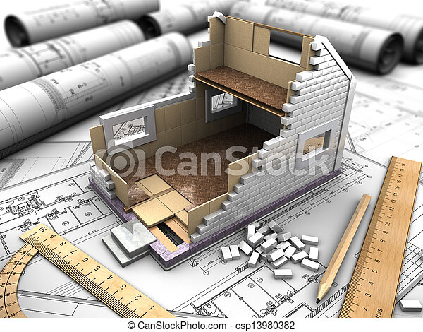 mockup of the house and drawings - csp13980382