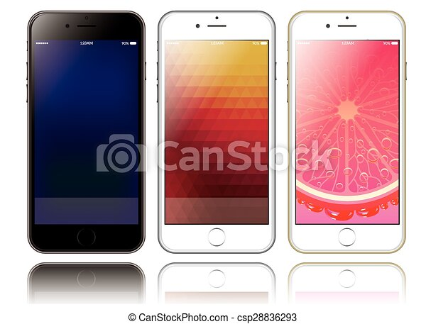 Mockup of two smartphones for presentations and web design - csp28836293