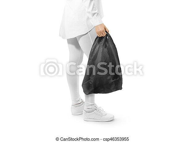 Mano Camiseta Negro Tenencia Mockup Plástico Bolsa Blanco gwRYRf