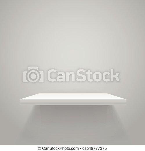 Weißes, leeres regal an der grauen wand. vector spotup.