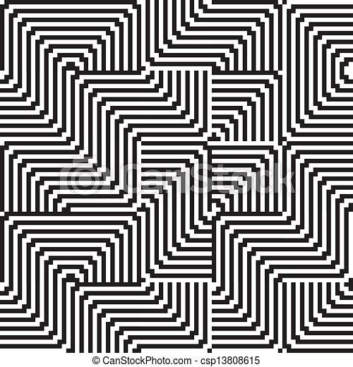 Connu Clipart Vecteur de modèle, ligne, noir, blanc, zigzag csp13808615  DP48