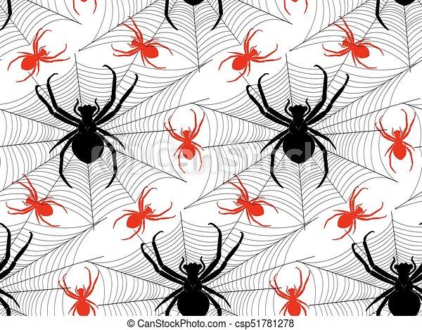 Modele Araignees Toiles Araignee Modele Halloween Noir Araignees Rouges Canstock
