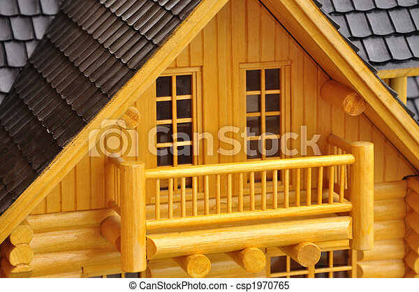 maison d tail wood mod le balcon 3d images de stock. Black Bedroom Furniture Sets. Home Design Ideas