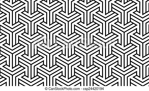 modèle, blanc, noir, géométrique - csp24420194