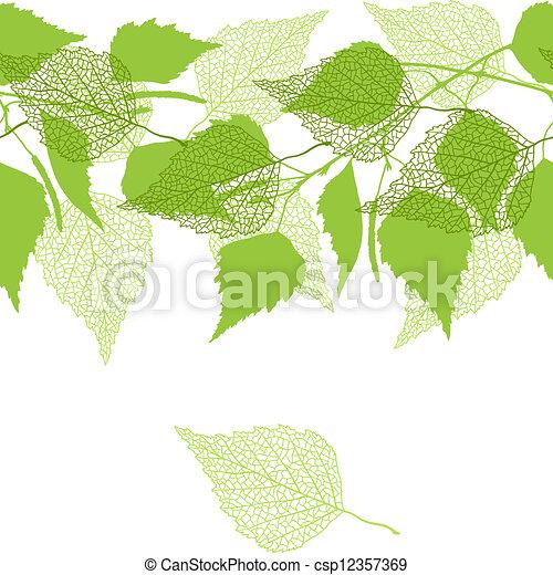 modèle, bouleau, vert, leaves., seamless - csp12357369