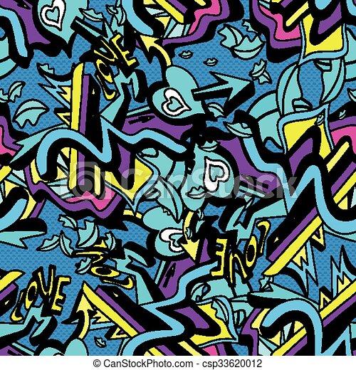 modèle coeur, lignes, seamless, illustration, vecteur, graffiti, fond, blanc, psychédélique - csp33620012