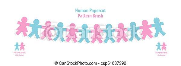 modèle, concept., illustration, arrière-plan., vecteur, collaboration, brosse, humain, blanc, papercut - csp51837392