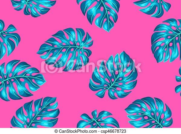 modèle décoratif, image, leaves., seamless, exotique, feuillage, monstera - csp46678723