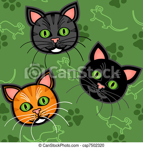 Mod le dessin anim seamless chat bleu mignon - Modele dessin chat ...