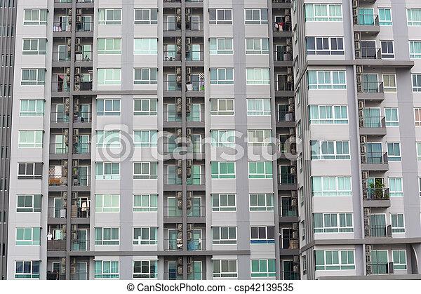 modèle, fenêtre, terrasse