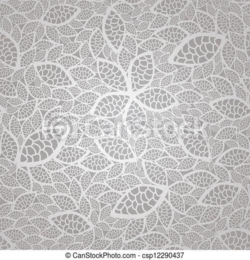 modèle, feuilles, dentelle, argent, seamless - csp12290437