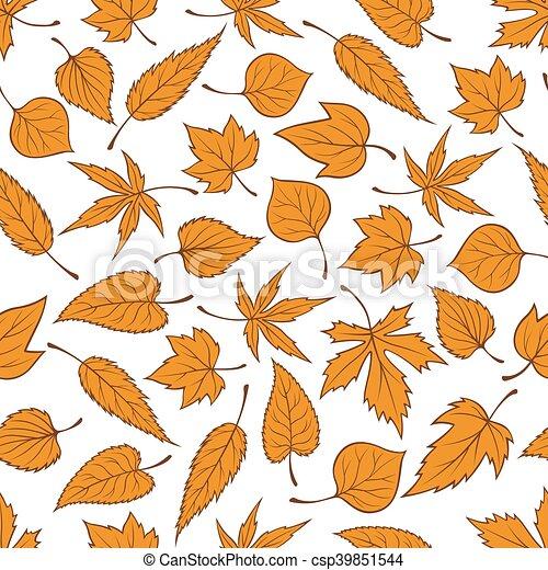 modèle, feuilles, seamless, automne, fond, orange - csp39851544