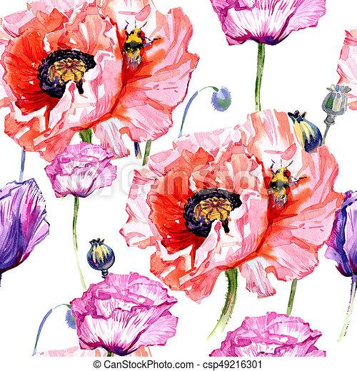 Modele Fleur Aquarelle Wildflower Coquelicots Style Fleur Nom