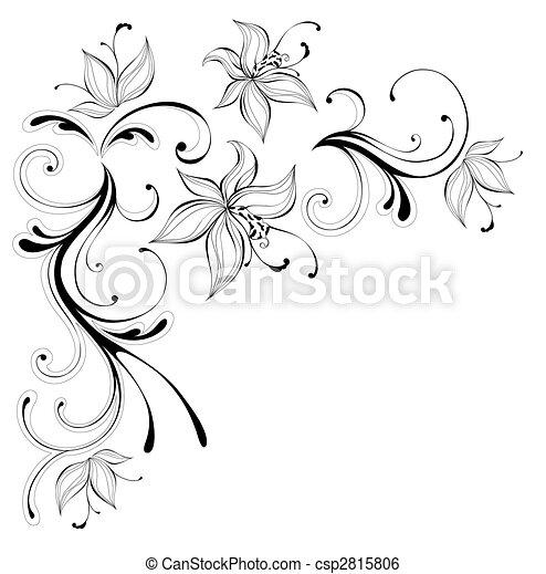 Modele Fleur Modele Fleur Arriere Plan Noir Blanc Dessin