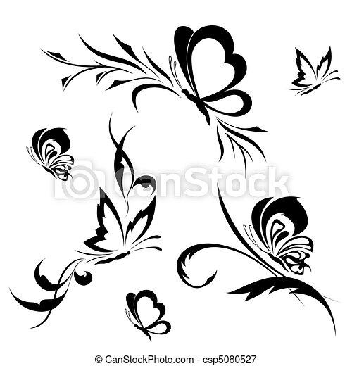 Modele Fleur Papillons Papillons Ensemble Fleur Tatouage Modele Canstock