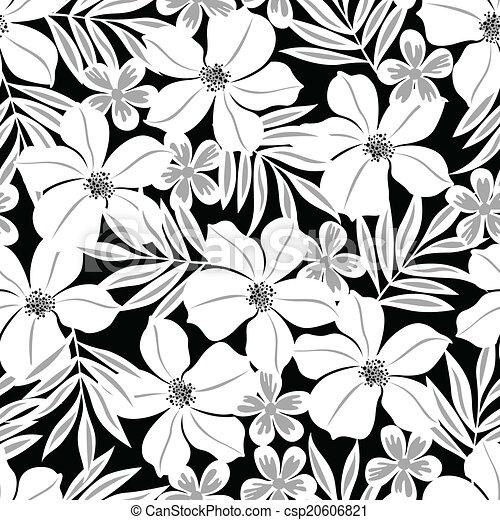 Modèle Fleur Seamless Exotique Arrière Plan Noir Blanc