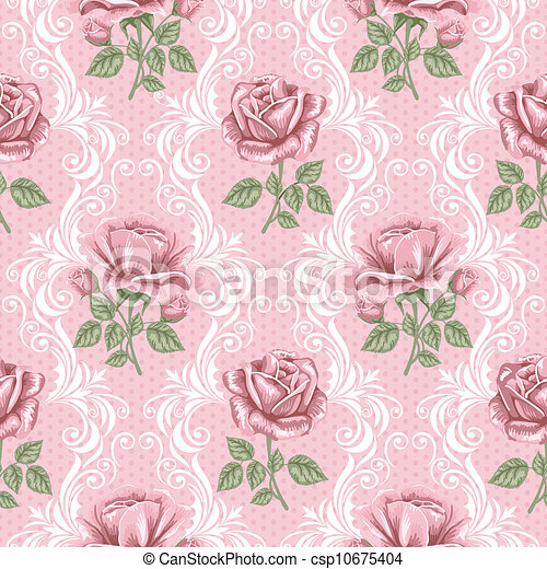 modèle fleur, -, seamless, roses, retro - csp10675404