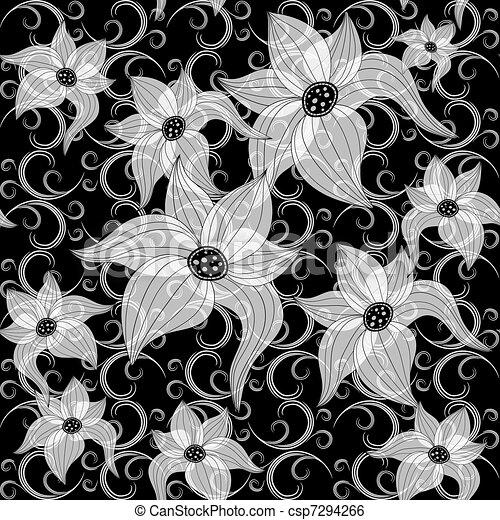 Modèle Floral Blanc Noir Facile